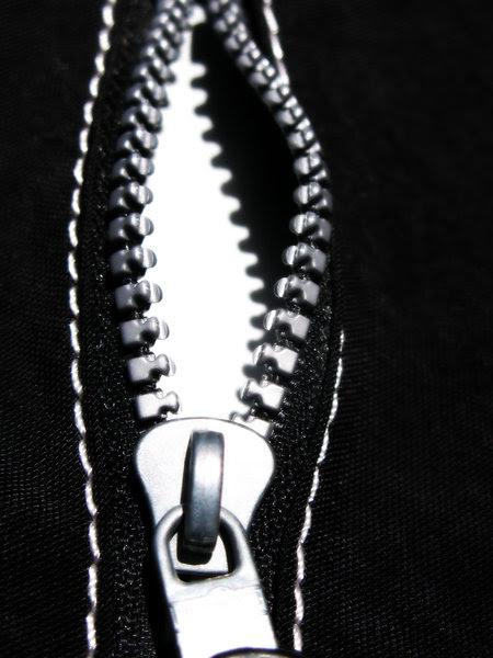 black zipper: none