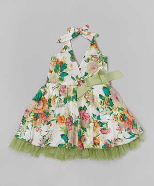 Green Verdant Floral Halter Dress - Infant, Toddler & Girls
