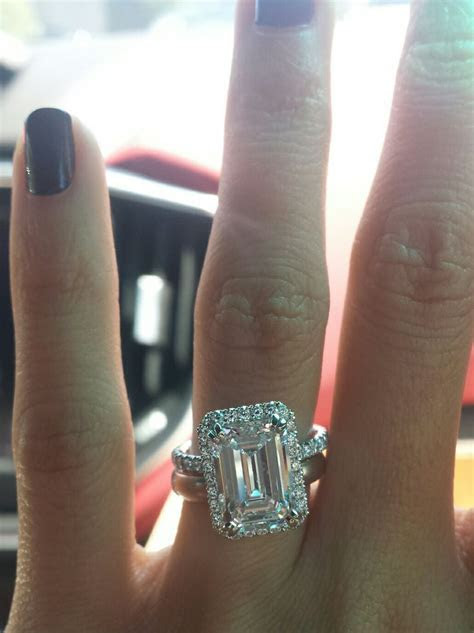 3 carat emerald cut on size 4 finger update^^   Weddingbee
