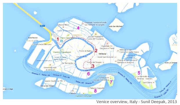 Venice walking tour map, Italy - images by Sunil Deepak