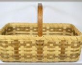Farmers Market Basket Hand Woven with Wood Base and Handle