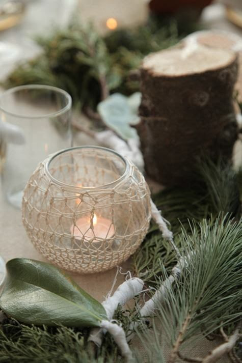 Never thought of crocheting around a candle holder - great idea!