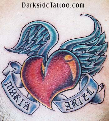 heart wing tattoos