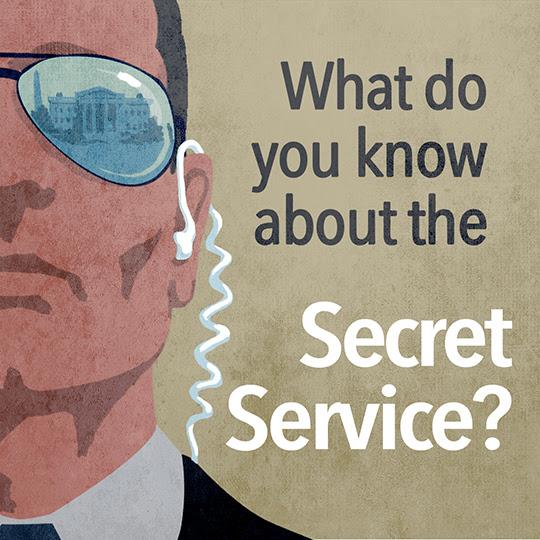 "Illustration of Secret Service agent, caption ""What do you know about the Secret Service?"" (State Dept. / D. Thompson)"