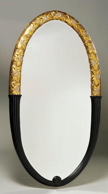ILIAD Design - An Art Deco style gilt and ebonized oval mirror ...