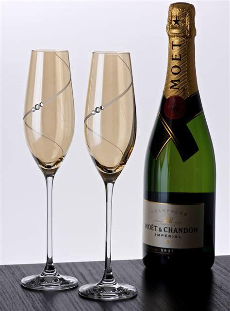 Personalised Gold Champagne Flutes With Swarovski Elements