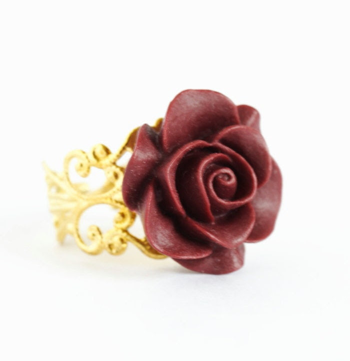 Burgundy Flower Ring - Gold Plated Adjustable Filigree Ring With Burgundy Flower