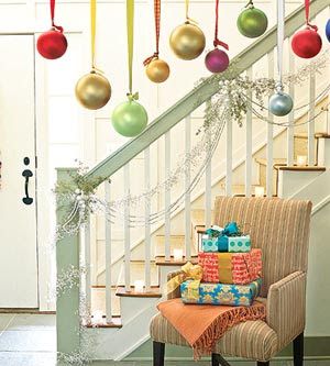 holiday bulbs hanging by stairs - How To Decorate Stairs For Christmas