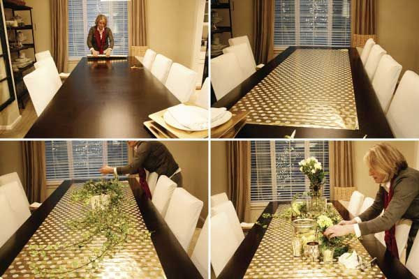 tips for decorating your christmas table. Using wrapping paper as a runner.......what a great idea!