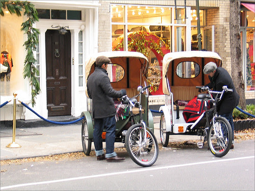 Pedicabs outside RL Store, the Village