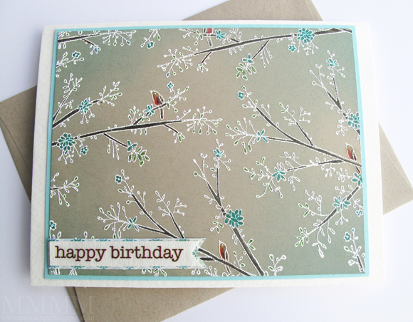 Hero Arts Delicate Branches background stamp & SRM sticker sentiment