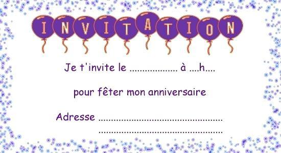 Carte Invitation Anniversaire Fille 11 Ans Imprimer