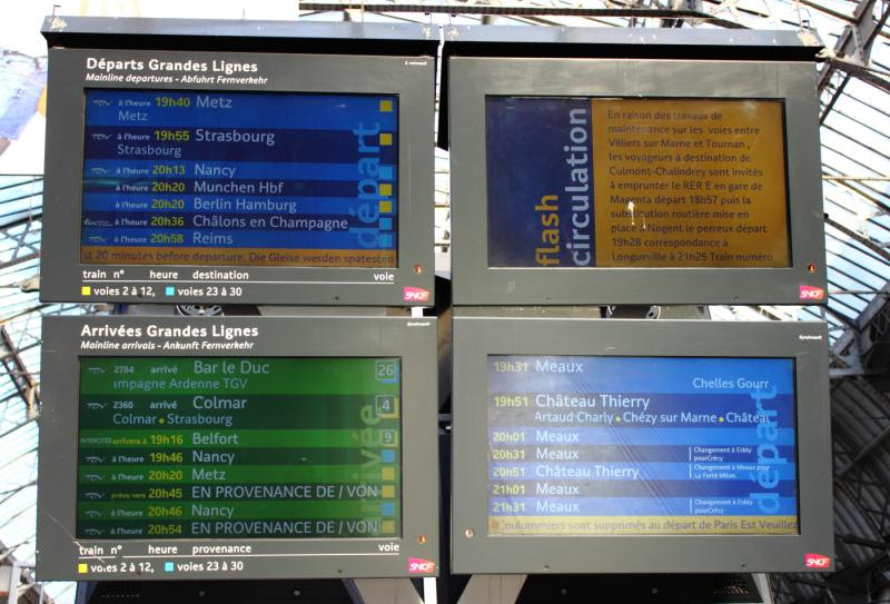 The departures and arrivals board at Gare de l'Est in Paris France
