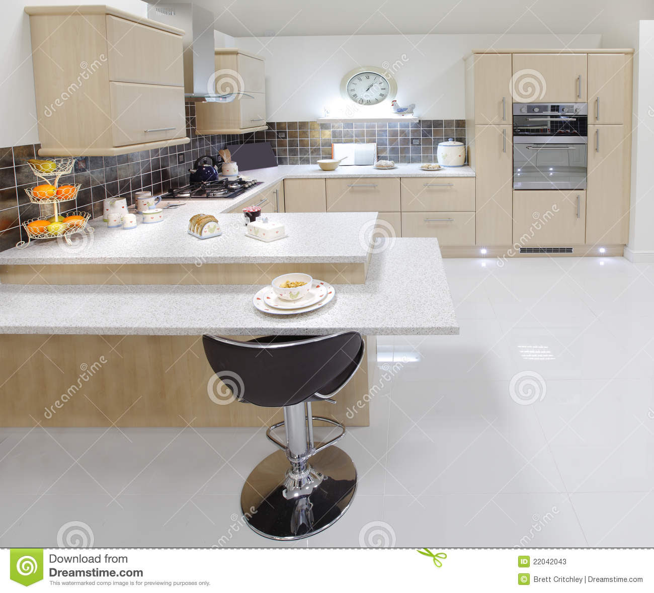 beech kitchen stock photos image 22042043 new fitted beech kitchen