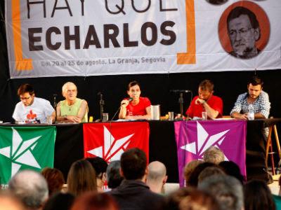 De izquierda a derecha: Gerardo Pissarello, Sabido Cuadra, Ester Vivas, Juan Carlos Monedero y ALberto Garzón. J.VARGAS