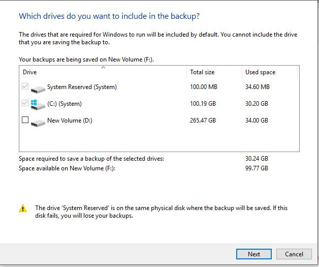 Which drive to backup