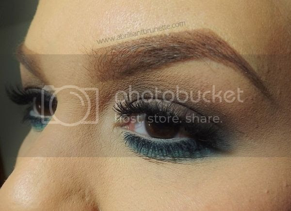 brown and teal eye makeup