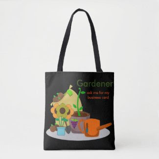 Cute Custom Gardener Print all over Black Tote Bag