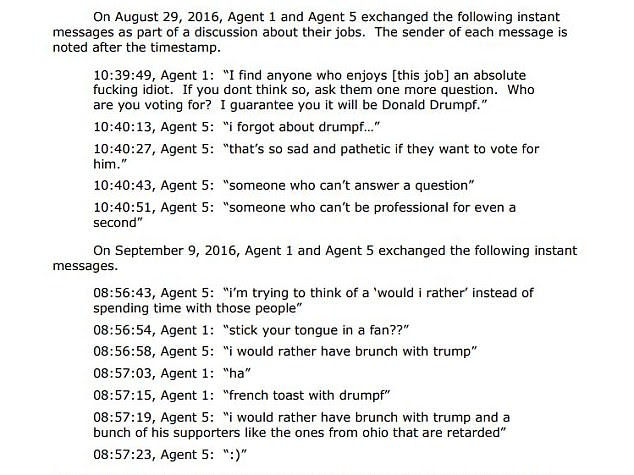 In a text message exchange with Agent 1 in August 2016, Moyer said anyone who enjoyed this job was 'an absolute f***ng idiot'