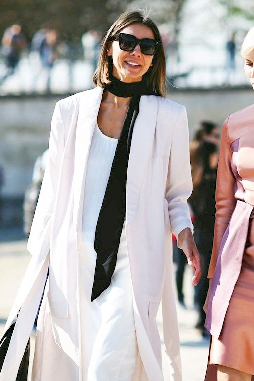 Le Fashion Blog Street Style Pfw Square Sunglasses Black Skinny Scarf White Blazer Long Dress Via Refinery29