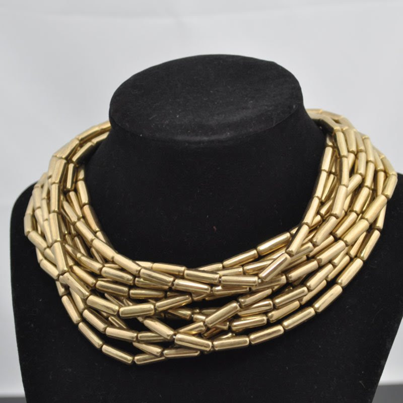 s39870 Czech Glass - 14 mm Tubes - Antique Gold (strand 25)