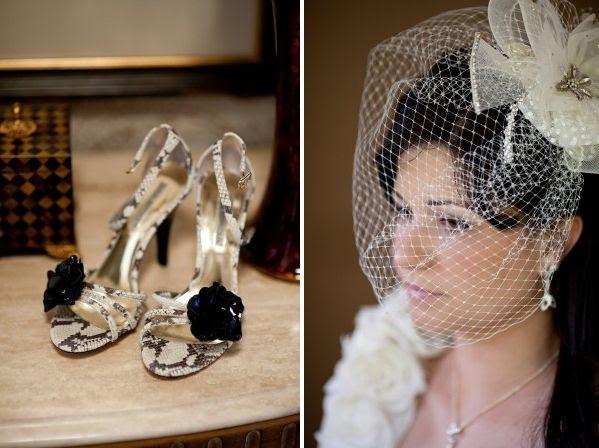 Stylish ivory gold and black open toe bridal heels with black rosette