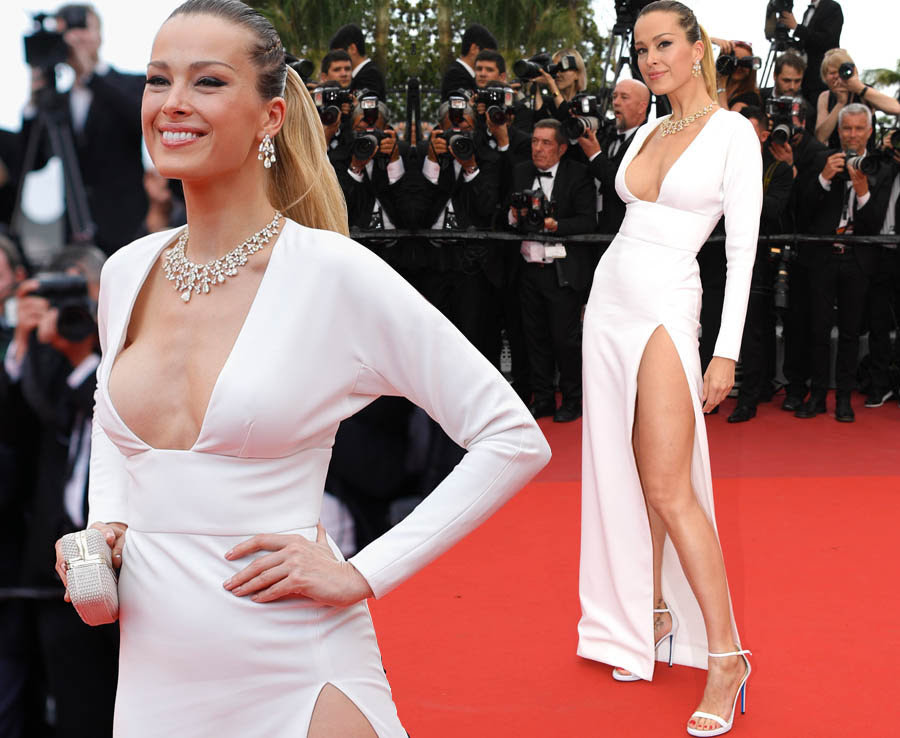 Petra Nemcova flashes sideboob on the red carpet at Cannes Film Festival
