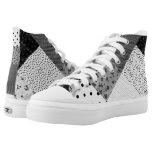 fun black and white patchwork vintage art designer printed shoes