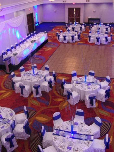 white and cobalt blue wedding reception   Our wedding