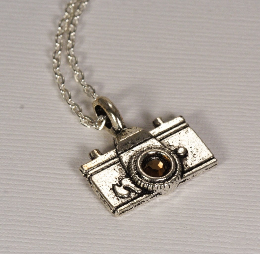 Click Smile Silver Camera Charm Necklace