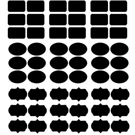 DecorVilla PVC Vinyl Film Waterproof Chalkboard Stickers for Storage Organizer (Black), Pack of 108