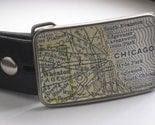 Chicago Vintage Map Belt Buckle - GIFT WRAP INCLUDED - Travels - Vintage Finish hyde park engelwood gross park ravenswood edgewater south chicago