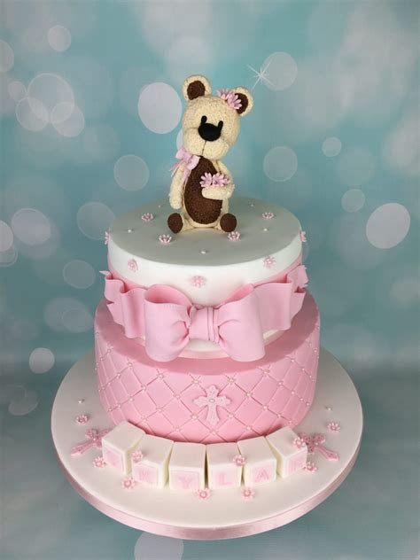 Pink Christening Cake With Teddy Bear Topper   Mel's