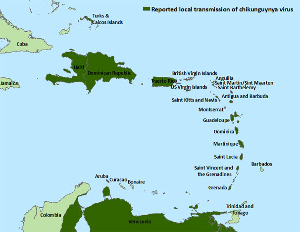 Image: Countries in the Caribbean where chikungunya cases have been reported, listed in below data table