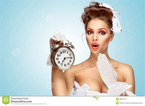 She is always late. stock image. Image of fashion