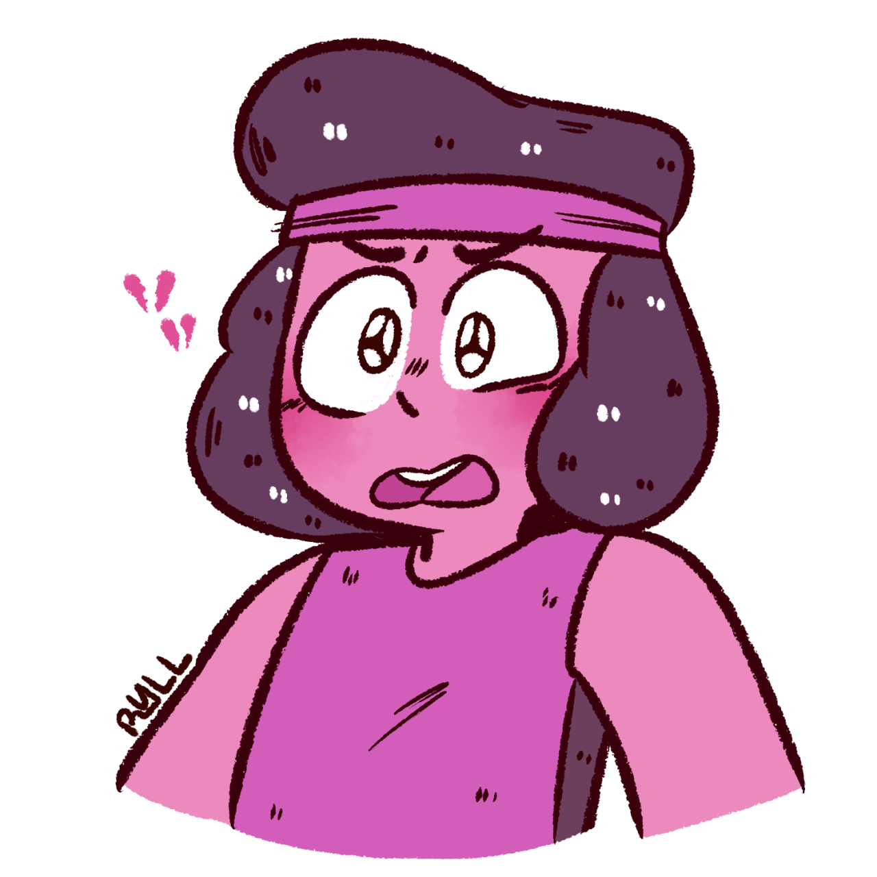 beanilee said: RUBY FROM SU IN D2 !!! ((for the blushing meme !!)) Answer: aaand a sad ruby :p