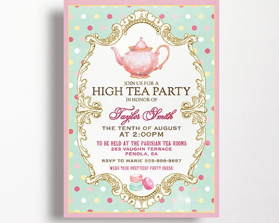 High Tea Invitation For Kitchen Tea Tea by WestminsterPaperCo