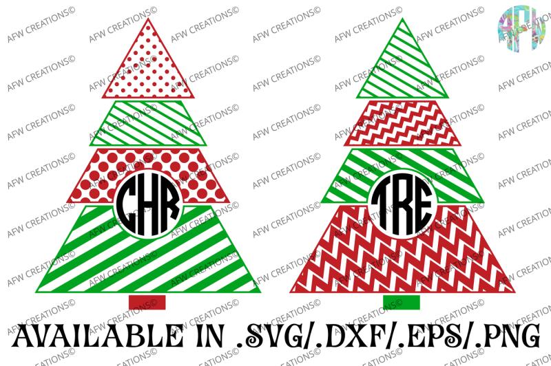 Download Free Monogram Christmas Trees - SVG, DXF, EPS Cut Files ...