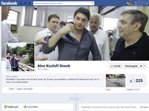 Página falsa do atropelador (Foto: Reprodução/Facebook)