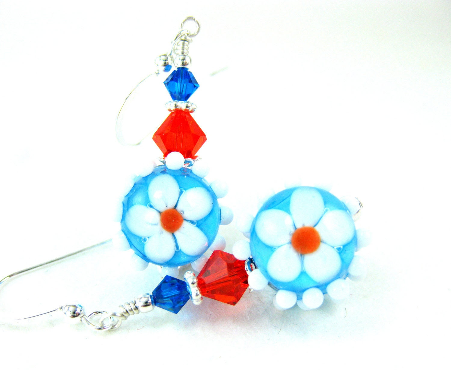 Blue Orange Daisy Earrings, Turquoise Blue Orange Beadwork Earrings, Floral Lampwork Earrings, Dangle Earrings, Drop Earrings - Miss Daisy - GlassRiverJewelry