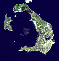 Satellite image of the islands of Santorini. This location is one of many sites purported to have been the location of Atlantis. Wikipedia