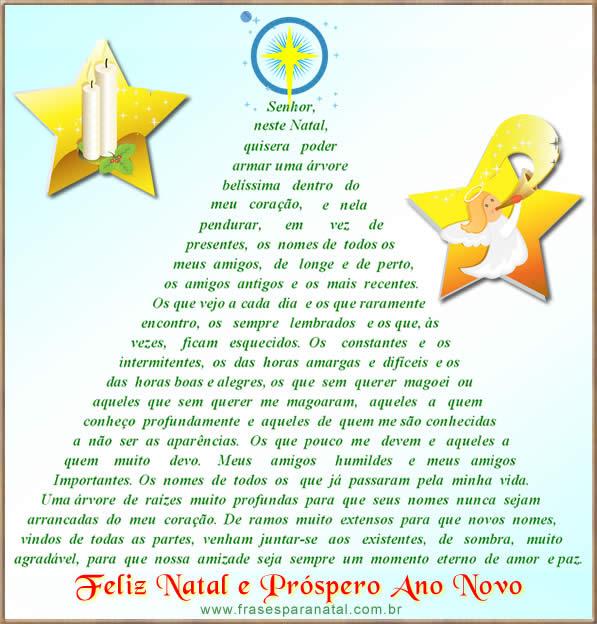 cartão de natal com mensagem para amigos e familiares