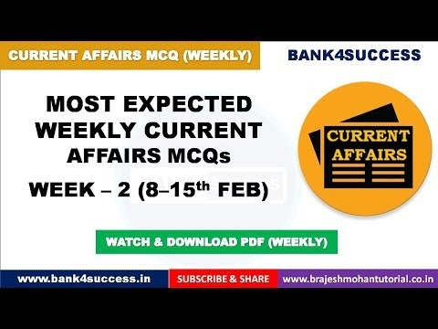Weekly Current Affairs MCQs February Month (8th-15th) PDF Download | Latest GK