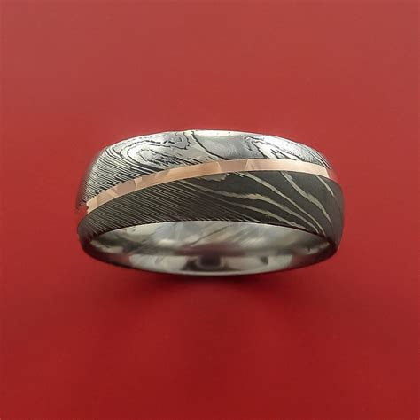 Damascus Steel Diagonal 14K Rose Gold Ring Wedding Band