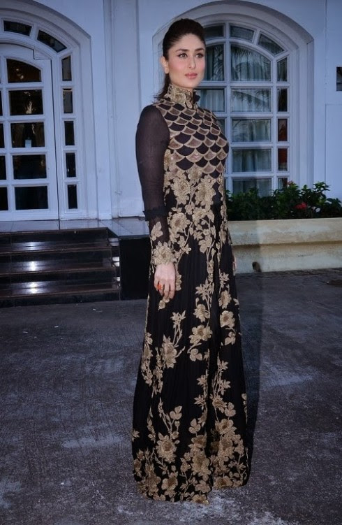 Kareena Kapoor Wear Beautiful Anamika Khanna S Black And Gold Floor