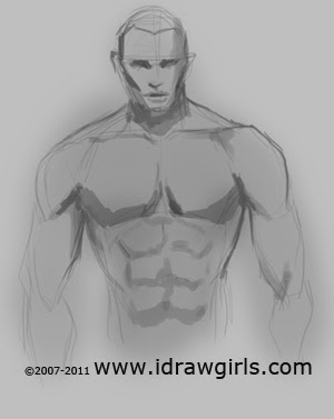 how to draw male upper body step 2