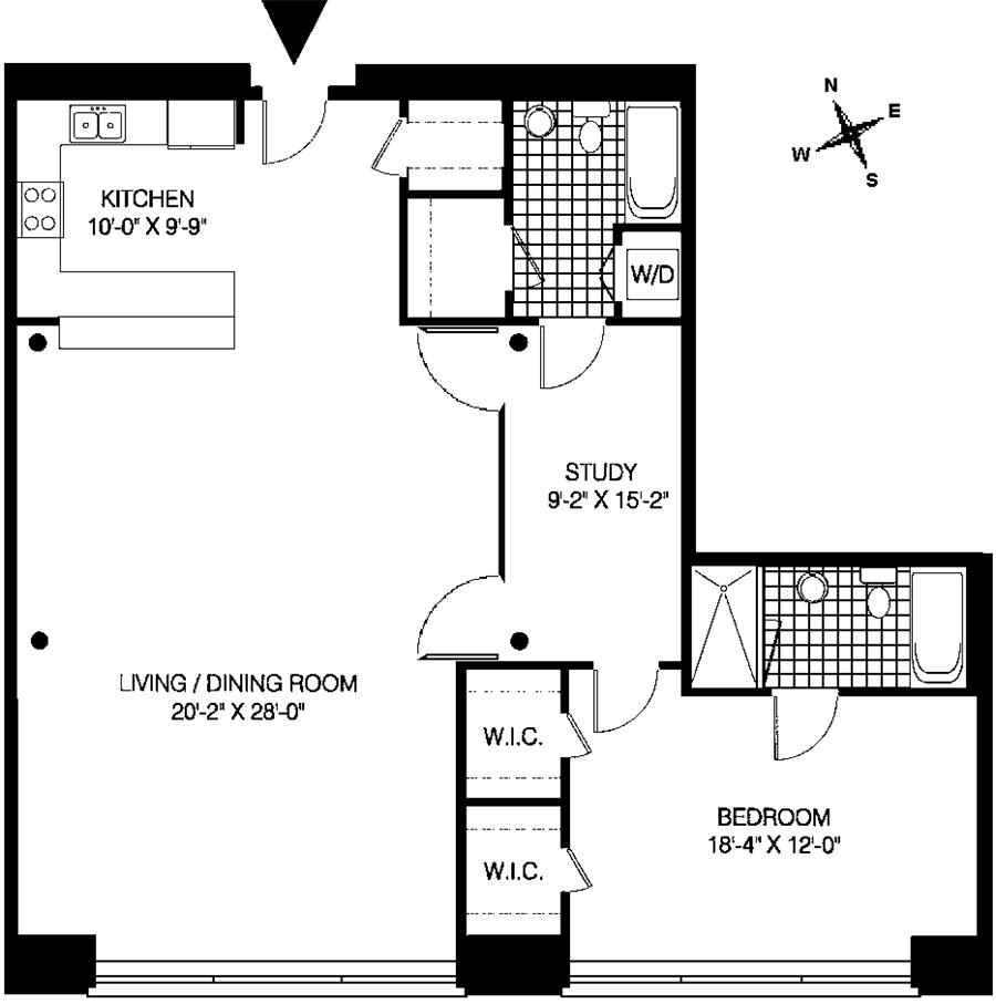 Apartments For Rent In Greektown Chicago: One Bedroom With Loft Plans