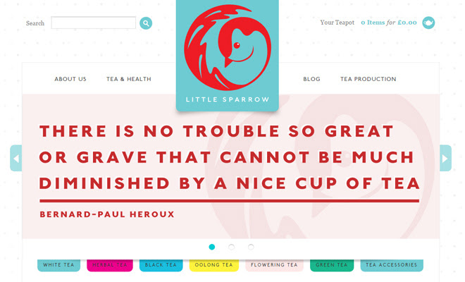 little sparrow tea website company design