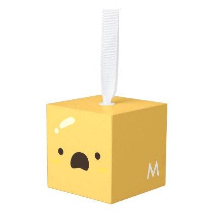 Funny Smiley Face. Emoji. Emoticon. Cube Ornament
