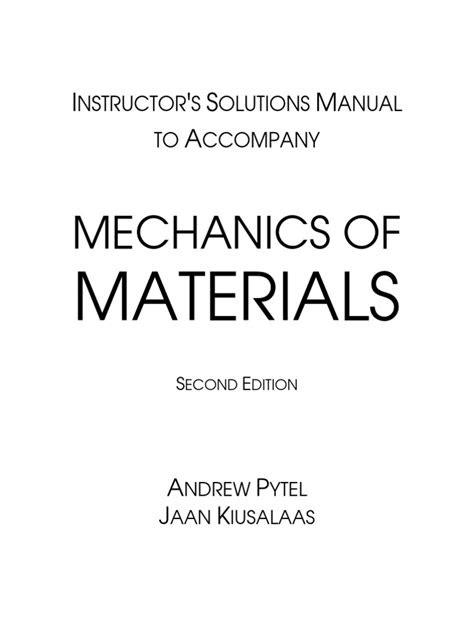 Pytel Mechanics.of.Materials.2e Solutions